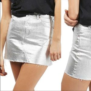 Topshop Metallic Denim Skirt